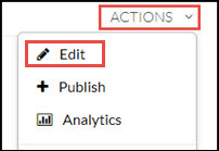 "Kaltura My Media ""Actions"" menu with ""Edit"" highlighted."