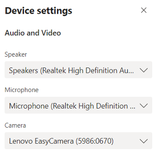Image of the Device settings panel