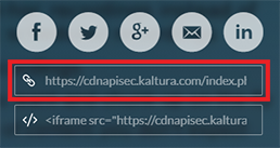 screenshot of the share link in the Kaltura video player's share menu