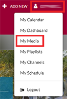 screenshot of the user navigation menu in the UW System mediaspace