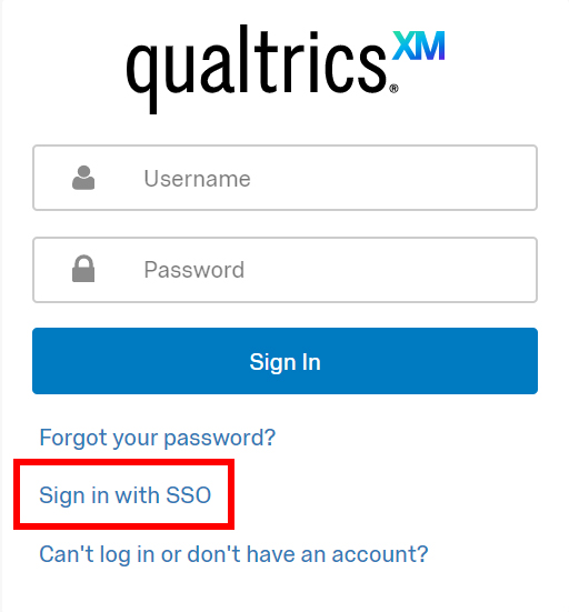 "Qualtrics Support Portal login with ""sign in with SSO"" link boxed"