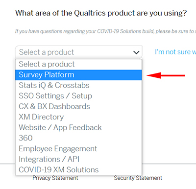 "A dropdown menu of XM products with an arrow pointing to the ""Survey Platform"" option"