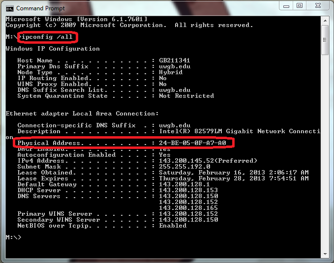 Finding a MAC Address through Command Prompt