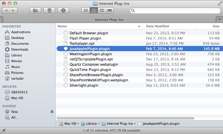 Delete the JavaAppletPluginplugin file
