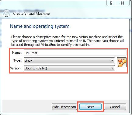 Name and set up your VM