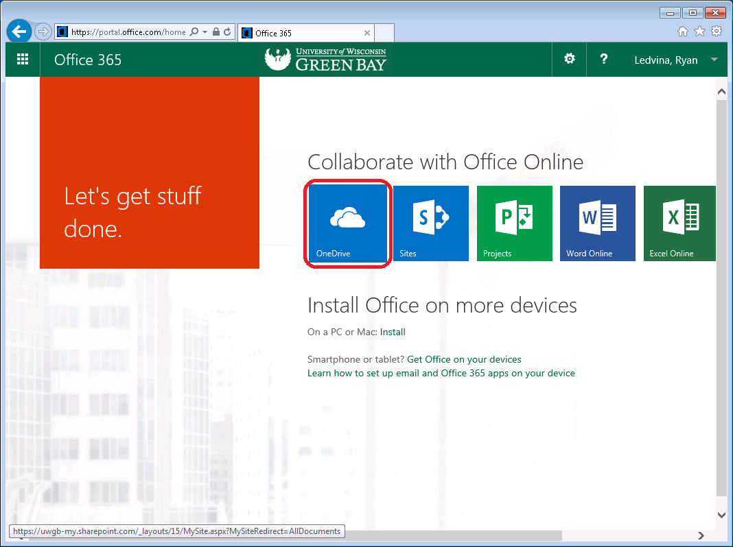 Office 365 Home Screen