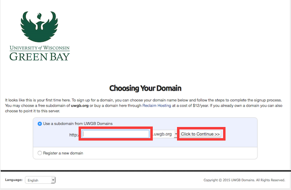 This is where you select your sub domain name