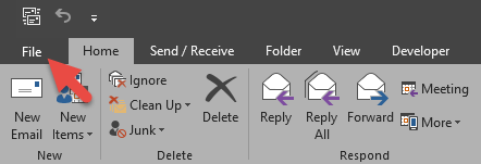 Outlook delegate file