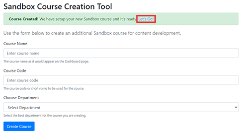 screenshot of sandbox course creation tool with let's go button
