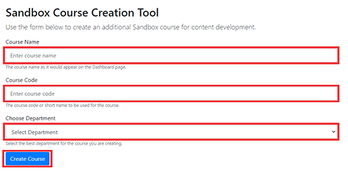 screenshot of sandbox course creation tool menu