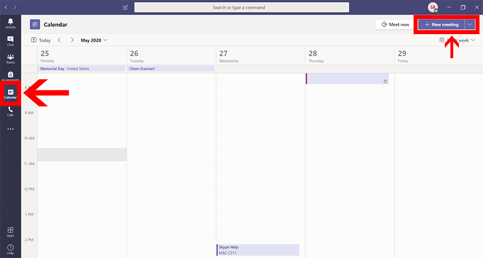 Image of Microsoft Teams application with Calendar button and New Meeting button highlighted
