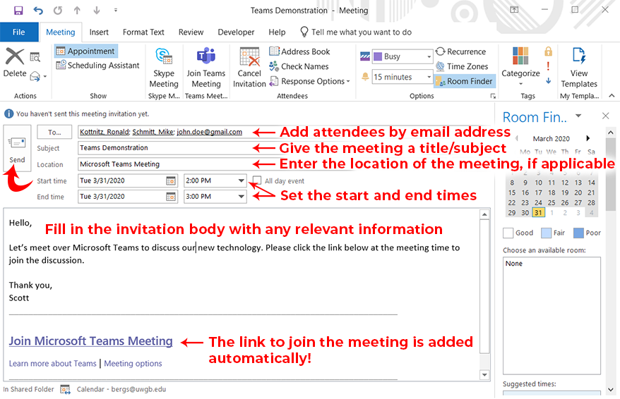 Image of Outlook desktop application meeting creation screen with addressee, subject, location, start and end times, and send button highlighted