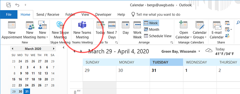 Image of Outlook desktop application with New Teams Meeting button highlighted