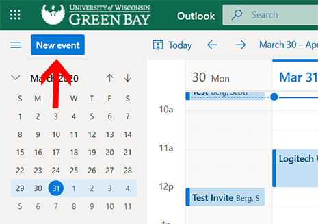 Image of New Event button located in the top-left of Outlook for the web's calendar page