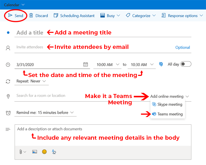 Image of new event details page in Outlook for the web