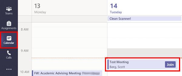Image of Microsoft Teams calendar page with an upcoming meeting showing the Join button