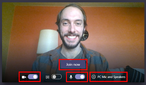 Image of the video preview and audio and video settings page in Teams