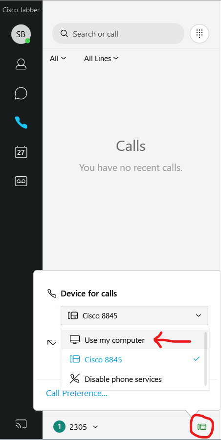 Jabber Device For Calls Settings Image