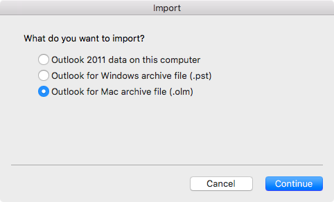 Import Outlook for Mac archive file (.olm)